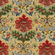 Red On Topaz Botanical Decorator Fabric by Brunschwig & Fils