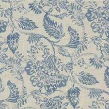 Light Blue/Ivory Botanical Decorator Fabric by Kravet
