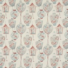 Blue/Orange/Rust Traditional Decorator Fabric by JF