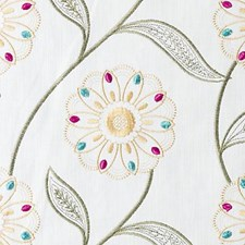 Yellow/Sage Embroidery Decorator Fabric by Duralee
