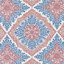 Red/Blue Medallion Decorator Fabric by Duralee