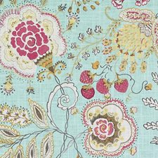 Aquamarine Birds Decorator Fabric by Duralee