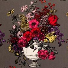 Magenta Floral Stylized Decorator Fabric by Clarke & Clarke