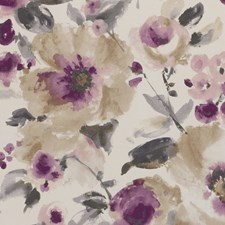 Damson Floral Large Decorator Fabric by Clarke & Clarke