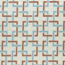 Cinnabar/Aqua Weave Decorator Fabric by Clarke & Clarke