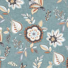 Teal/Spice Decorator Fabric by Clarke & Clarke
