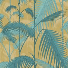 Orchre/Petrol Botanical Decorator Fabric by Cole & Son