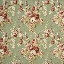 Coral/Sage Botanical Decorator Fabric by Mulberry Home
