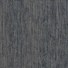Petrol Blue Herringbone Decorator Fabric by Mulberry Home