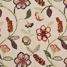Damson/Ruby Embroidery Decorator Fabric by Mulberry Home