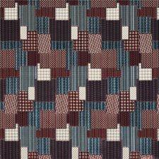 Indigo/Red Velvet Decorator Fabric by Mulberry Home