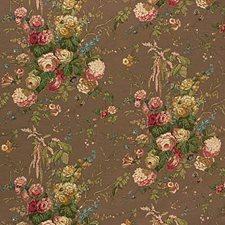 Floral Bouquet-Mocha Print Decorator Fabric by Lee Jofa