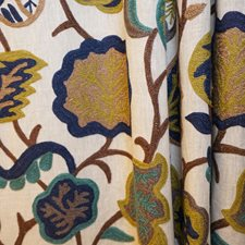 Blue/Brown/Creme Traditional Decorator Fabric by JF