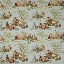 Blue/Brown/Green Toile Decorator Fabric by Kravet