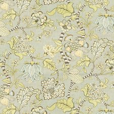 Green/Light Blue/Brown Botanical Decorator Fabric by Kravet