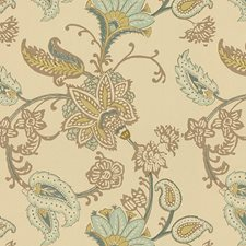 Beige/Green/Light Blue Botanical Decorator Fabric by Kravet
