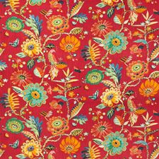 Red Botanical Decorator Fabric by Kravet