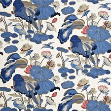 Indigo/Marine/Linen Print Decorator Fabric by G P & J Baker