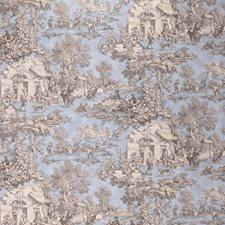 Beige/Light Blue/Brown Toile Decorator Fabric by Kravet
