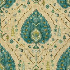 Beige/Teal/Sage Damask Decorator Fabric by Kravet