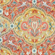 Red/Yellow/Turquoise Decorator Fabric by Scalamandre