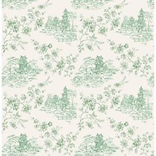 Green Toile Wallcovering by Brewster