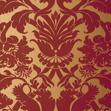 Red On Gold Wallcovering by Schumacher Wallpaper