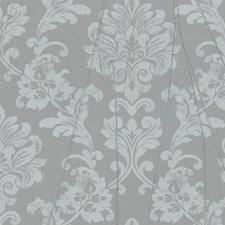 Metallic Gray/Blue Damask Wallcovering by York