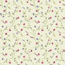 Cream/Green/Purple Botanical Wallcovering by York