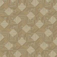 Gray/Putty/Gold Brass Geometrics Wallcovering by York