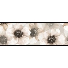 Black/Pearl Gray Botanical Wallcovering by York