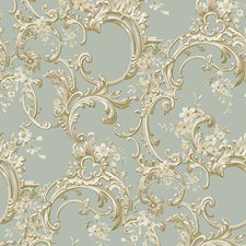 Aqua Satin/Bright White/Gold Scroll Wallcovering by York