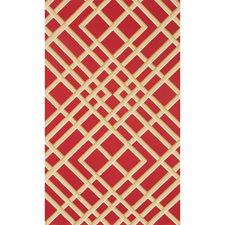 Red Print Wallcovering by Brunschwig & Fils