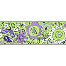 Lime Green/Pale Purple/Medium Purple Children Wallcovering by York