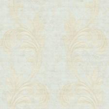Spring Blue Metallic/Light Brown/Cream Scroll Wallcovering by York