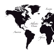 CR-81105 Black World Map Wall Decal by Brewster