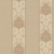 Light Brown/Dark Cream/Shiny Copper Damask Wallcovering by York
