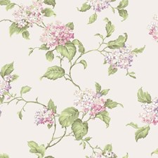 Pearlescent Cream/Light and Medium Pink/Light and Medium Purple Floral Medium Wallcovering by York