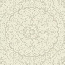 Cream/White/Silver Glitter Damask Wallcovering by York
