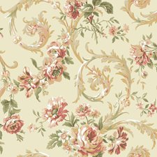 Pearl/Coral Floral Medium Wallcovering by York
