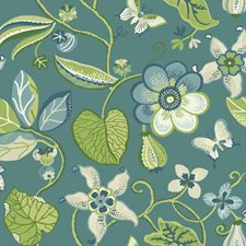 Teal/Sprout Green/Olive Green Floral Wallcovering by York