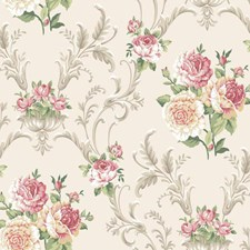 Silver/Pink/Red Floral Wallcovering by York