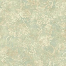 Aqua/Cream/Beige Floral Wallcovering by York