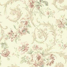 Cream/Pale Peach/Brown Floral Wallcovering by York