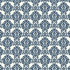 Pristine White/Prussian Blue Damask Wallcovering by York