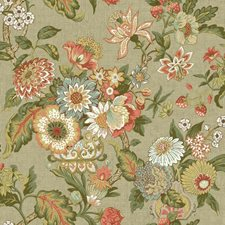 Light Tan/Orange/Coral Floral Wallcovering by York