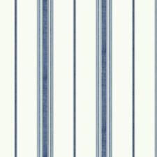 White/Dark Blue/Medium Blue Stripes Wallcovering by York