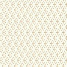 White/Orange Geometrics Wallcovering by York