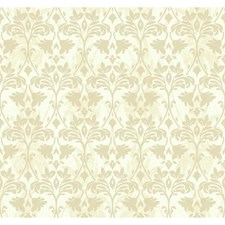 Soft Champagne/Palest Linen Beige/Opalescent and Silver Glitter Leaves Wallcovering by York