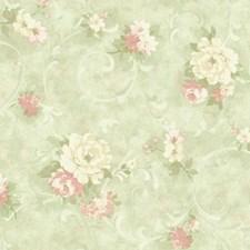 Light to Dark Aqua/Light to Dark Peach/Dark Green Floral Wallcovering by York